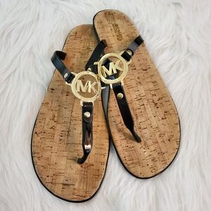 Michael Kors Size 10 Jelly and Cork Logo Sandals